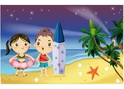 沙滩上的卡通情侣图片