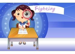 写作业的卡通女孩图片