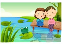 水池边的卡通情侣图片