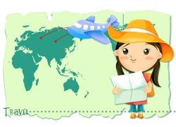 旅游的卡通女孩图片