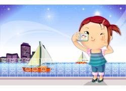 自拍的卡通女孩图片