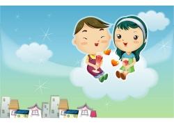 云朵上的卡通情侣图片