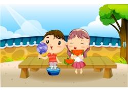 吃西瓜的卡通情侣图片