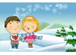 围围巾的卡通情侣图片
