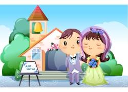 结婚的卡通情侣图片