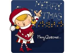 圣诞节卡通女孩图片