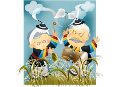 卡通老年夫妇图片