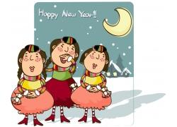 新年卡通女孩图片