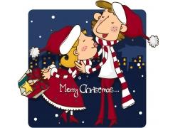 过圣诞节的卡通情侣图片
