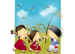 捉蜻蜓的卡通小女孩图片