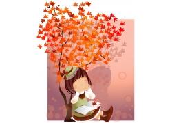 枫树下的卡通女孩图片