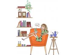 看书的可爱女孩图片
