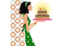 手捧生日蛋糕的少女