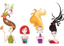 美发造型美女插画图片