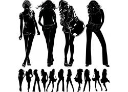 时尚美女人物剪影图片
