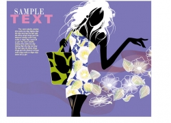 时尚美女插画图片