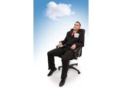 坐在椅子上的职员图片