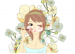 化妆美女插画图片