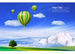 热气球蓝天白云