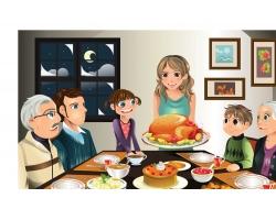 餐桌上的一家人图片