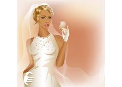 拿着酒杯的新娘