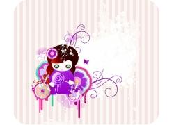 可爱女孩与时尚花纹背景图片