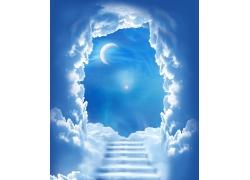 天空阶梯与月亮