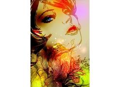 插画美女与时尚花纹图片
