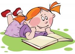 看书的可爱卡通女孩图片