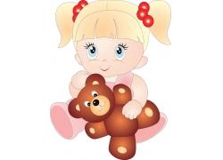 抱着熊娃娃的可爱卡通小女孩图片