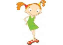 穿裙子的卡通小女孩图片