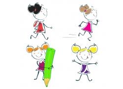 开心的卡通小女孩图片
