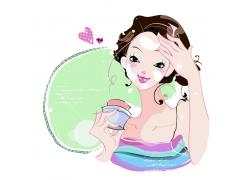 美容护肤的可爱美女图片
