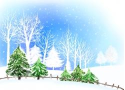 美丽冬天风景插画图片