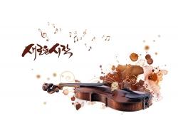 时尚花纹与小提琴图片