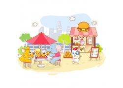 动物用餐插画素材图片