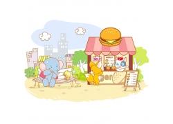 动物购物插画素材图片