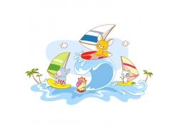 动物冲浪插画素材图片