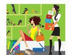 鞋店海报卡通背景图片