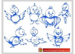 卡通小鸟插画图片