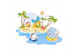 游泳的动物插画图片