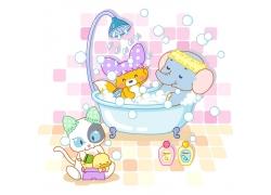 洗澡的动物插画图片