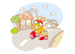 骑车的动物插画图片