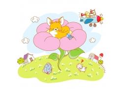 睡觉的动物插画图片