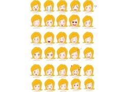 卡通女孩表情图片