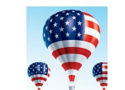 美国国旗热气球图片