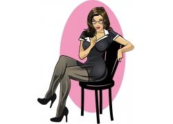 坐在椅子上的矢量美女图片