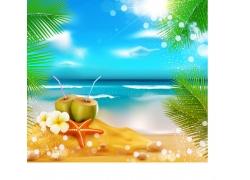 夏日旅游展板背景