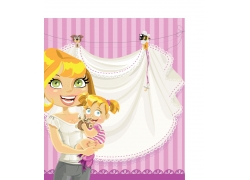 可爱卡通女孩与妈妈图片