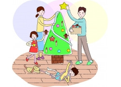 过圣诞的卡通家庭图片